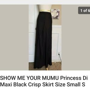 Show Me Your Mumu Princess Di Black Maxi Skirt S